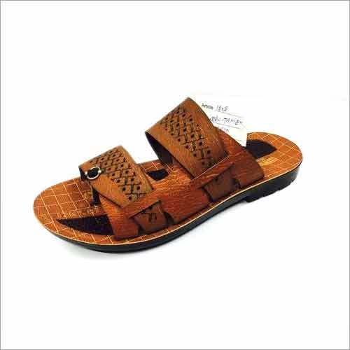 Tan Color PU Slipper Lazer Cut Design