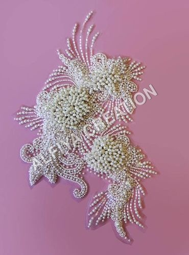 Pearl beaded fancy applique