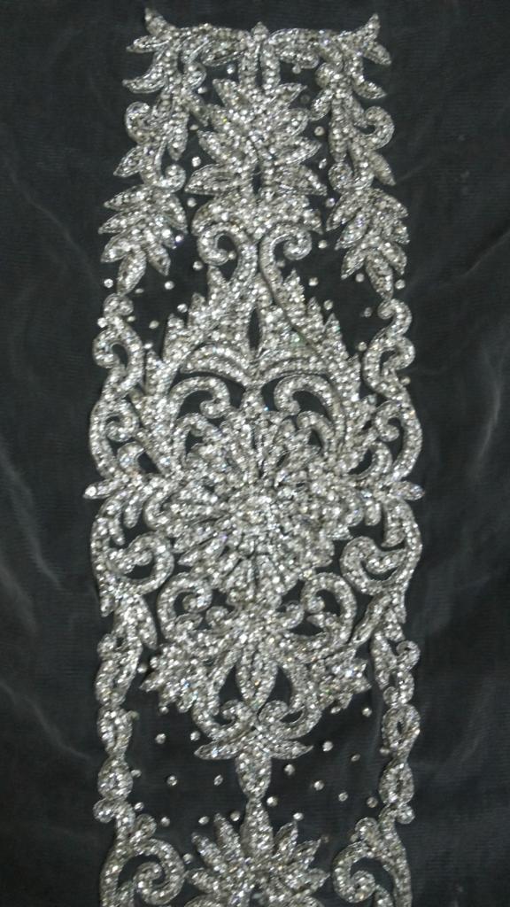 Bridal lehnga silver stone beaded work kali