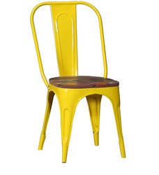 Industrial restaurant chair with wooden seat