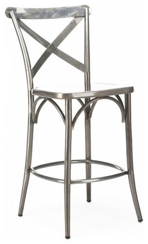 Industrial cross back bar chair