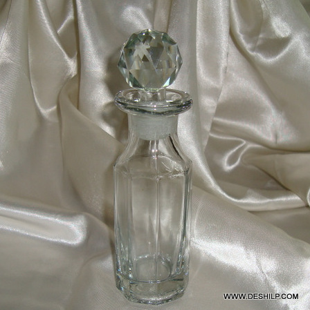 ANTIQUE RING NECK DECANTER FROSTED STOPPER