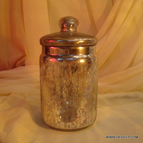 Wholesale Silver Glass Jar with glass lid Storage jar