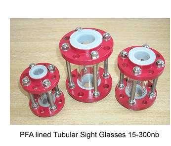 PTFE Lined Sight Glass Borosilicate glass tube