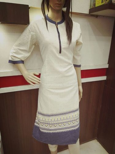 Cream Denim Kurtis