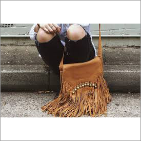 Brown fringes bags