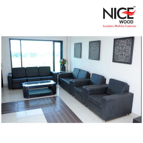 Office Black Leather Sofa