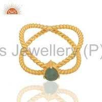 Emerald Gemstone Gold Plated Ring Manufacturer