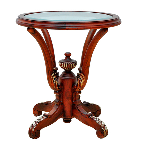 Gamla Carving Round Table With Top Glass