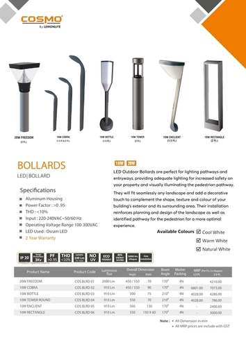 Black LED Bollard Light