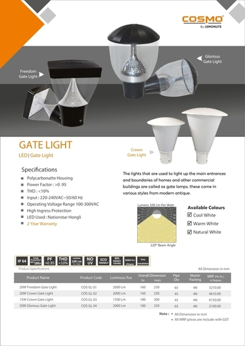 Zenda Maxi Grey White LED Gate Lights