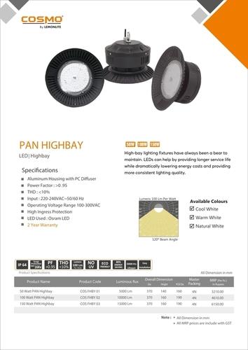 Fins LED Highbay 120Deg 100W Lights