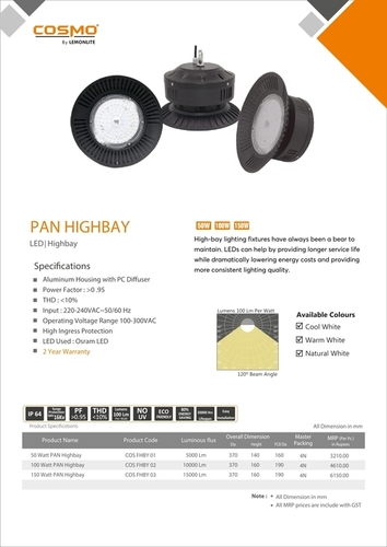 Fins LED Highbay 120Deg 100W Lights