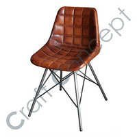 CROSS METAL LEGS BROWN LEATHER CHAIR