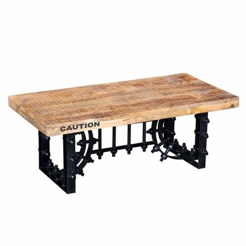Heavy duty metal base industrial coffee table