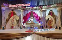 Asian Wedding Crystal Damroo Pillars Stage Set
