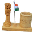 Wooden Ashoka Pillar with Pen Stand & Flag