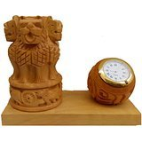 Wooden Pen Stand with Watch and Flag