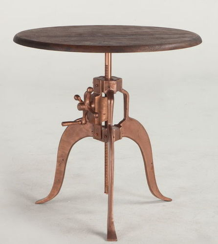 Copper finish with reclaimed wood top crank table