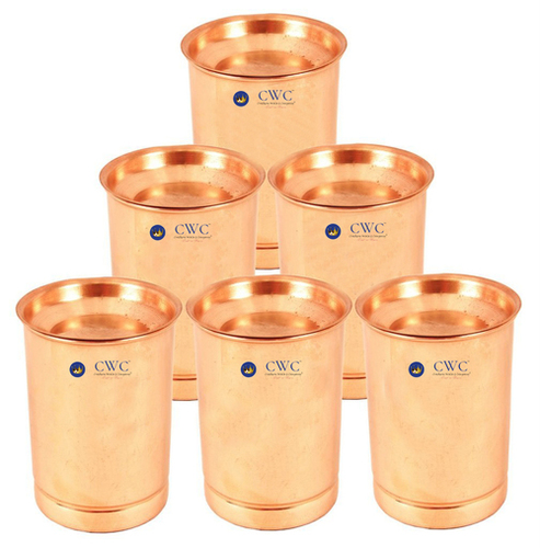 Set Of 6 Copper Glass Tumbler Cup With Lid, 300 Ml