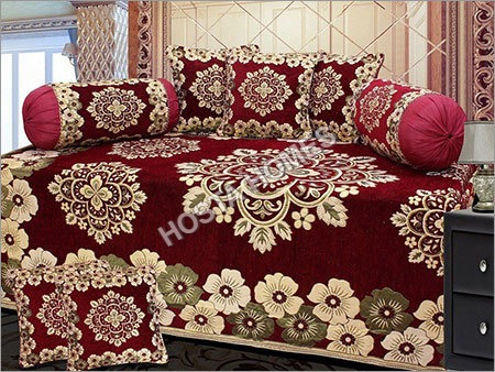 Attractive maroon Floral design Diwan Set