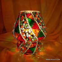 Mosaic Decorated Dome Shaped Glass Table Lamp