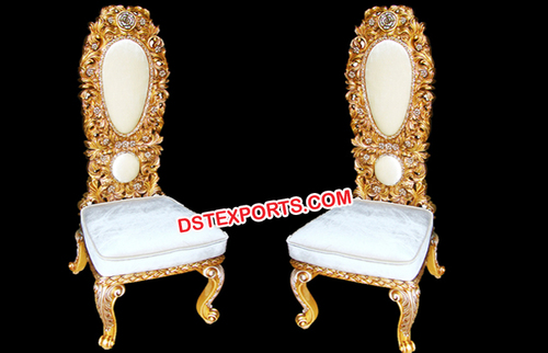 Royal Wedding Gold Chairs with Ivory Fabric
