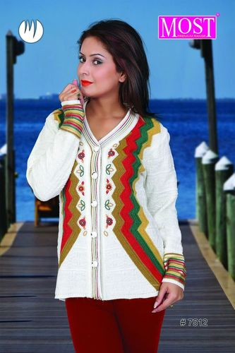 Intarsia Knitted V-Neck Ladies Cardigan