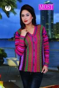 Ladies V- Neck Multi Color Cardigan