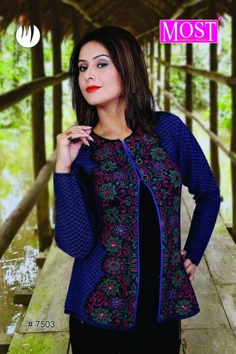 Round Neck Three Button Ladies Cardigan