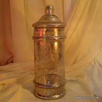 Wholesale Crakle Silver Glass Jar with glass lid Storage