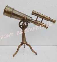 Antique Finish Brass Tripod Telescope