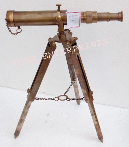 Brass Antique Finish Maritime Collectible Tripod Telescope