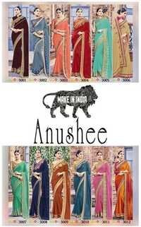 ANUSHEE Designer Embroidered Fancy Fabric Sarees