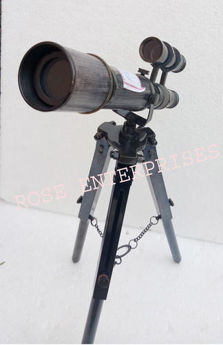 Black Antique Nautical Double Barrel Tripod Telescope \ Gifted Item