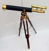 Nautical Double Barrel Brass Telescope with Tripod Stand