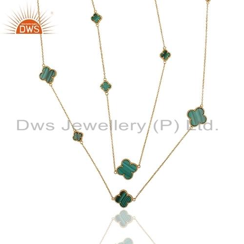 Malachite Gemstone Gold Plated Necklace
