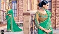 Embroidered Hand Printed Saree