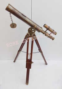 Antique Finish Double Barrel Brass Telescope with Tripod Stand