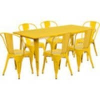 Industrial metal dining set in yellow colour