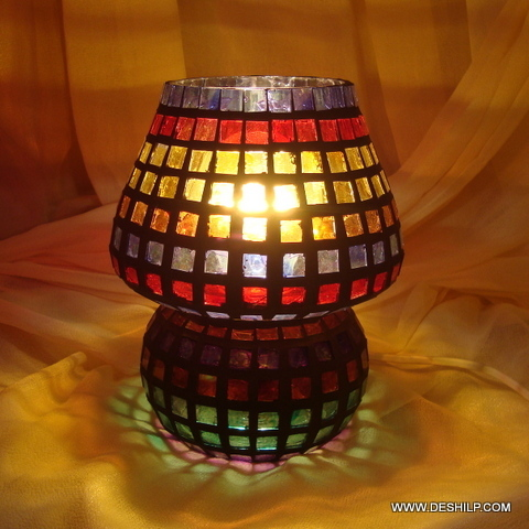 Multicolour Mosaic Style Dome shaped Glass Table Lamp
