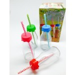 Circleware Milk Bottle With Straw and Lid 310m