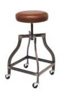 Vintage leather stool with wheel