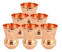 Handmade Hammered Copper Glass Cup, Set Of 6, 375 Ml