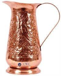 Leaf Floral Design Copper Jug Pitcher, 1200 Ml