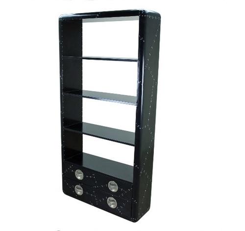 Aviator Vintage Black industrial style Bookshelf with drawers
