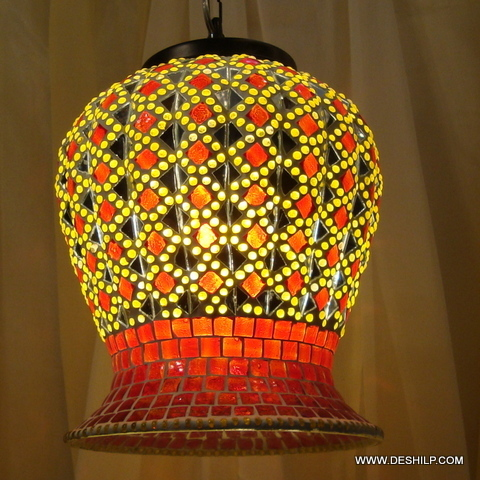 Glass Hanging Pendant Light Mosaic Hanging Lamp