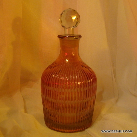 Vintage Ribbed Glass Decanter