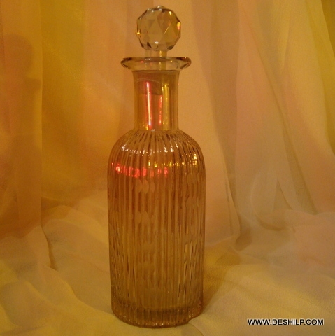 Tall Vintage Glass Amber Decanter Clear Glass Liquor Decanter Bottle with Topper