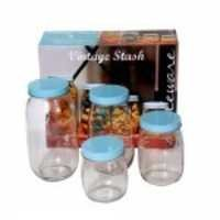 Circleware Vintage Stash 4 Piece Canister Set With Blue Lids